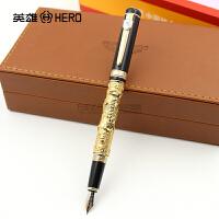 正品HERO英雄钢笔1062孔子金色/银色铱金笔 钢笔 墨水笔 高档礼盒