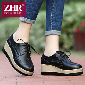 ZHR2017春季新款休闲鞋英伦风松糕鞋女单鞋厚底鞋真皮鞋子平底女鞋E15