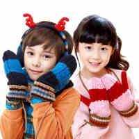 韩国kocotree男女儿童手套冬羊羔绒宝宝手套保暖彩色拼接挂脖手套