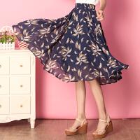 特尚莱菲 半身裙夏2017新款春韩版长裙女雪纺中长款裙子印花半裙 WWH7100