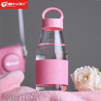 小水滴玻璃杯 创意便携带盖水杯男女士车载运动水瓶杯子