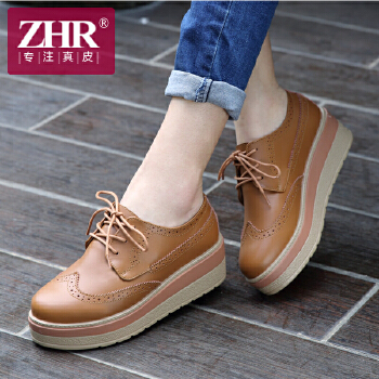 ZHR2016秋季新品英伦厚底女鞋休闲鞋女布洛克松糕鞋女平底鞋单鞋女H28