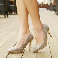 彼艾2015春夏欧美站水钻细跟女鞋子高跟鞋浅口性感婚鞋尖头单鞋女