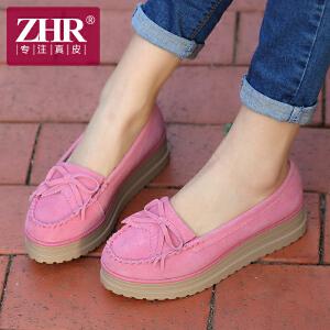 ZHR2017春季新款休闲鞋女流苏甜美松糕鞋坡跟厚底单鞋真皮女鞋H97