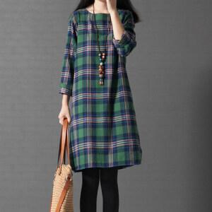 【当当年中庆】波柏龙  韩版大码宽松文艺范格子长袖棉麻连衣裙 女