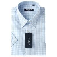 雅戈尔旗舰店商务正装男新款夏蓝色格子免烫短袖衬衫SDP12082HJA