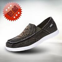 (99元三件)-金帅威 帆布鞋低帮牛仔鞋男一脚套懒人鞋轻便慢跑运动鞋