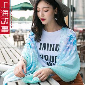 上海故事超长加大丝巾双色雪纺韩版女士围巾披肩防晒纱巾沙滩巾
