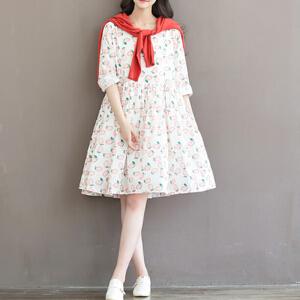 波柏龙大码女装印花棉布宽松长袖连衣裙 女