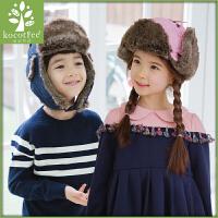 韩国KK树儿童帽子秋冬款男童女童帽子冬天儿童雷锋帽加绒护耳保暖