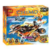 欢乐童年-博乐 气功传奇赤马神兽虎参谋的双面黑火战车10352 拼装积木玩具