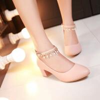 彼艾2016春季新款女鞋韩版甜美浅口女鞋尖头高跟鞋粗跟中跟单鞋水钻一字扣